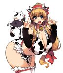 1girl \m/ animal_costume animal_print apron bad_anatomy bell bell_collar bent_over bikini blonde_hair blue_eyes breasts cleavage collar cow cow_bell cow_costume cow_horns cow_print cow_tail curvy detached_sleeves deviruchi fake_horns hair_ribbon hairband horns large_breasts long_hair low-tied_long_hair midriff ragnarok_online red_ribbon ribbon solo swimsuit tail thighhighs waist_apron white_legwear whitesmith xration