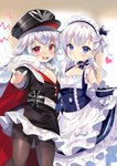 2girls apron azur_lane bangs bare_shoulders belchan_(azur_lane) belfast_(azur_lane) black_headwear black_legwear blue_eyes blush braid cape cleavage_cutout collarbone commentary_request crossed_bangs dress dress_lift elbow_gloves eyebrows_visible_through_hair flat_chest french_braid frilled_apron frilled_gloves frills fur-trimmed_cape fur_trim gloves graf_zeppelin_(azur_lane) hair_between_eyes hat heart iron_cross kurot lifted_by_self long_hair long_sleeves looking_at_viewer maid maid_apron maid_headdress military_hat multiple_girls one_side_up open_mouth pantyhose peaked_cap pleated_skirt pointing pointing_at_viewer red_eyes side_braid silver_hair skirt standing thighband_pantyhose twitter_username very_long_hair waist_apron white_apron white_gloves white_legwear white_skirt zeppelin-chan_(azur_lane)