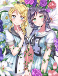 2girls ayase_eli bell blonde_hair blue_eyes bow bracelet double-breasted dress finger_to_cheek flower green_eyes hair_bell hair_bow hair_ornament hairpin highres holding_hands index_finger_raised jewelry jingle_bell kaisou_(0731waka) lily_(flower) long_hair looking_at_viewer love_live! love_live!_school_idol_project multiple_girls plant ponytail purple_hair purple_rose red_rose rose sailor_collar short_sleeves sidelocks smile toujou_nozomi twintails vines yuri