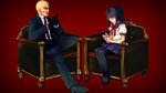 1boy 1girl agent_47 ayano_aishi bald black_hair couch formal gloves hitman_(game) jpeg_artifacts notepad one_on_one pantyhose ponytail school_uniform serafuku source_request suit taking_notes yandere_simulator