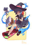 1girl absurdres bag bag_charm black_soldier blue_eyes blue_hair book constanze_amalie_von_braunschbank-albrechtsberger dress gun hat highres holding holding_gun holding_weapon hover_board little_witch_academia robot school_bag solid_circle_eyes stanbot_(little_witch_academia) surfing weapon weapon_request witch_hat