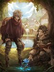 1girl 3boys :d >:d alfyn_(octopath_traveler) arm_support arms_up bandaged_arm bandages bare_arms black_footwear black_hair blue_eyes blue_sky book boots brown_hair buttons cape cloud cloudy_sky commentary_request crop_top cropped_vest cuffs cyrus_(octopath_traveler) dress eyebrows_visible_through_hair fish fishing fishing_line fishing_rod flower full_body glowing glowing_flower grey_hair hair_between_eyes hair_over_one_eye hat hat_feather high_collar highres holding holding_book holding_fishing_rod knees_on_chest leaning_forward light_brown_hair long_dress long_sleeves looking_down looking_up magic male_focus messy_hair multiple_boys no_nose octopath_traveler open_book open_clothes open_mouth open_vest outstretched_arms pants poncho pouch puffy_short_sleeves puffy_sleeves shackles shirt shoes short_sleeves sitting sky sleeves_rolled_up smile squatting standing tenyo0819 therion_(octopath_traveler) tree tressa_(octopath_traveler) unbuttoned v-shaped_eyebrows vest water white_dress