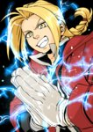 1boy blonde_hair braid clapping edward_elric electricity fullmetal_alchemist monoheiya single_braid solo yellow_eyes