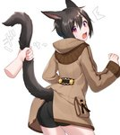 /\/\/\ 1girl animal_ears ass bangs bike_shorts black_hair black_shorts blush brown_coat cat_ears cat_girl cat_tail coat commentary_request disembodied_limb eyebrows_visible_through_hair fang final_fantasy final_fantasy_xiv fingernails hair_between_eyes hand_up head_tilt highres hood hood_down hooded_coat long_sleeves looking_at_viewer looking_back miqo'te open_mouth purple_eyes sakura_chiyo_(konachi000) short_shorts shorts solo_focus sweat tail tail_grab tail_raised twitter_username white_background wide_sleeves