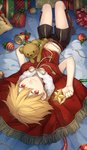 1boy beads bed_sheet bell blonde_hair boots bow box brown_boots cape child child_gilgamesh christmas christmas_ornaments citron_82 colored_eyelashes crop_top fate/hollow_ataraxia fate/stay_night fate_(series) fringe from_behind full_body gift gift_box gilgamesh looking_at_viewer looking_back lying male_focus midriff on_back red_eyes short_hair shorts smile solo star stuffed_animal stuffed_toy tassel teddy_bear younger