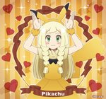 1girl :3 akika_821 arms_up blonde_hair blush_stickers braid closed_mouth commentary_request dress gen_1_pokemon green_eyes heart lillie_(pokemon) long_hair pikachu pikachu_ears pikachu_tail pokemon pokemon_(game) pokemon_ears pokemon_sm short_sleeves solo tail twin_braids twitter_username yellow_dress