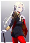 1girl blonde_hair cape closed_mouth commentary_request cravat doku_ringo36 edelgard_von_hresvelgr_(fire_emblem) fire_emblem fire_emblem:_fuukasetsugetsu from_side gloves grey_background hair_ribbon highres long_hair long_sleeves looking_to_the_side pantyhose purple_eyes red_cape red_legwear ribbon simple_background smile solo uniform white_gloves