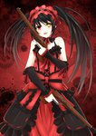 1girl absurdres bare_shoulders black_hair black_rabbit breasts cleavage clock_eyes date_a_live dress dual_wielding gears gun hairband heterochromia highres holding lolita_fashion lolita_hairband long_hair looking_at_viewer medium_breasts red_eyes ribbon rifle solo symbol-shaped_pupils tokisaki_kurumi twintails uneven_twintails weapon yellow_eyes