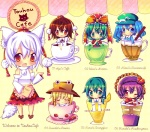 6+girls bad_id bad_pixiv_id chibi chocolat_(momoiro_piano) cup drink english_text engrish_text food front_ponytail in_container in_cup inubashiri_momiji kagiyama_hina kawashiro_nitori kochiya_sanae minigirl moriya_suwako mountain_of_faith multiple_girls ranguage shameimaru_aya tea touhou two_side_up yasaka_kanako