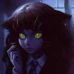 1girl animal_ears cat_ears dark harry_potter hermione_granger hogwarts_school_uniform ilya_kuvshinov kemonomimi_mode lips necktie portrait robe school_uniform slit_pupils solo whiskers yellow_eyes yellow_sclera