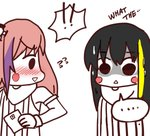 !! ... 2girls black_hair blush commentary girls_frontline looking_at_another m4a1_(girls_frontline) multicolored_hair multiple_girls o.k.corral pink_hair simple_background speech_bubble st_ar-15_(girls_frontline) surprised tagme what