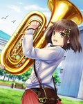 1girl :d absurdres bird blue_sky brown_eyes brown_hair cloud day euphonium green_ribbon grey_sweater hair_ribbon highres holding holding_instrument instrument kishida_mel open_mouth outdoors pleated_skirt red_skirt ribbon school_fanfare short_hair skirt sky smile solo standing sweater