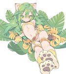1girl animal_ears banana bangs belt blade_(galaxist) bow bow_panties bra breasts cham_cham eyebrows_visible_through_hair food fruit gloves green_eyes green_hair hair_between_eyes leaf long_hair looking_at_viewer navel panties parted_lips paw_boots paw_gloves paws reclining samurai_spirits small_breasts snk solo tail underwear white_panties yellow_bra