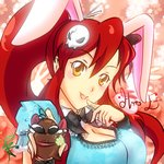 1girl animal_ears blush_stickers boota breasts bunny_ears cleavage detached_collar hair_ornament happy_easter large_breasts long_hair lowres nekoi_echizen orange_eyes ponytail red_hair sidelocks skull_hair_ornament solo tengen_toppa_gurren_lagann wrist_cuffs yoko_littner