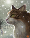 animal cat face green_eyes matataku no_humans original portrait realistic snowflakes snowing solo_focus surprised_cat_(matataku) whiskers winter