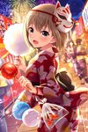 1boy 4girls alternative_girls bag bagged_fish bangs blonde_hair blurry blurry_background blush breasts candy_apple commentary_request cotton_candy festival fireworks fish floral_print flower food goldfish holding holding_food japanese_clothes kimono lily_(flower) long_sleeves looking_at_viewer mask mask_on_head medium_breasts multiple_girls night night_sky obi official_art open_mouth outdoors plastic_bag red_kimono sash short_hair sky sylvia_richter water_balloon water_yoyo wide_sleeves yukata