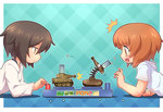 2girls brown_eyes brown_hair girls_und_panzer lying military military_vehicle multiple_girls nishizumi_maho nishizumi_miho on_stomach sankuma short_hair siblings sisters tank toy vehicle