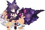 1girl breasts cleavage coke_bottle dark_persona date_a_live dress elbow_gloves food gloves looking_at_viewer lying on_stomach pillow potato_chips purple_eyes purple_hair see-through simple_background solo tsunako white_background yatogami_tooka