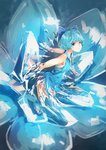 1girl adapted_costume alternate_costume blue_dress blue_eyes blue_hair blurry bow cirno closed_mouth commentary_request dress fairy flower hair_bow hair_ornament highres ice ice_wings kaatoso kneeling looking_at_viewer shirt short_hair sleeveless solo touhou vest wings