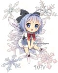 1girl :d antenna_hair artist_name between_legs blue_eyes blue_hair bowtie chibi cirno dav-19 dress hair_ribbon hand_between_legs ice ice_wings open_mouth ribbon smile snowflakes sparkle touhou watermark web_address wings