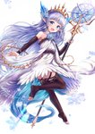 1girl :d bangs bare_shoulders blue_eyes blue_flower blue_hair blue_rose blush brown_legwear brown_sleeves crystal detached_sleeves dress eyebrows_visible_through_hair flower full_body granblue_fantasy hair_flower hair_ornament highres holding holding_staff lily_(granblue_fantasy) long_sleeves looking_at_viewer looking_back no_shoes open_mouth pointy_ears rose sakura_ani simple_background sleeves_past_wrists smile snowflakes soles solo staff thighhighs tiara toeless_legwear white_background white_dress