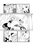 ! 2girls apron ascot bat_wings braid brooch comic covering_mouth fang greyscale hat izayoi_sakuya jewelry low_wings maid maid_headdress monochrome multiple_girls open_mouth remilia_scarlet short_hair slit_pupils sonson_(eleven) surprised touhou translated twin_braids waist_apron wings