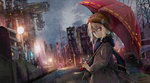 1girl bangs blonde_hair bloom car coat commentary crane grey_sky ground_vehicle hat holding holding_umbrella long_sleeves looking_at_viewer looking_back motor_vehicle original outdoors rain red_eyes road scaffolding scarf shiina_kuro solo street umbrella