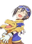 1girl absurdres agumon blush claws closed_eyes commentary_request cosplay crossover digimon digimon_adventure eyewear_on_head gloves goggles goggles_on_head grey_hair highres holding idolmaster idolmaster_cinderella_girls idolmaster_cinderella_girls_starlight_stage koumei_(akita_komachi) open_mouth otokura_yuuki shirt short_hair shorts simple_background sketch smile t-shirt upper_body white_background white_gloves yagami_taichi yagami_taichi_(cosplay)