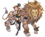 1girl animal bangs blonde_hair boots braid breasts carmelina_(granblue_fantasy) claws detached_sleeves draph epaulettes full_body garter_straps gloves granblue_fantasy green_eyes hair_ornament hat high_heel_boots high_heels holding holding_weapon horns jacket large_breasts lion long_hair long_sleeves looking_at_viewer minaba_hideo miniskirt one_leg_raised open_clothes open_jacket open_mouth skirt smile tail thigh_boots thighhighs transparent_background underboob very_long_hair weapon whip white_gloves zettai_ryouiki
