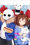 1other 2boys :d ^_^ annoying_dog blush brown_hair caramell0501 closed_eyes coat facing_viewer frisk_(undertale) gloves highres hot_dog looking_at_viewer multiple_boys open_mouth pants papyrus_(undertale) sans scarf shirt skeleton smile teeth track_pants undertale