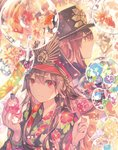 1boy 1girl black_kimono blue_flower bracelet brother_and_sister brown_hair candy_apple closed_mouth commentary_request crazy_straw dot_nose drinking_straw fate/grand_order fate_(series) fish floating_hair floral_print flower food goldfish hair_between_eyes haori hat highres holding japanese_clothes jewelry kimono long_hair long_sleeves looking_at_viewer obi oda_nobukatsu_(fate/grand_order) oda_nobunaga_(fate) peaked_cap profile red_eyes rioka_(southern_blue_sky) sash siblings smile wide_sleeves wind_chime