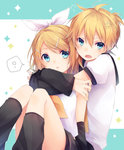 1boy 1girl ? bass_clef black_legwear blonde_hair blue_eyes bow brother_and_sister commentary_request detached_sleeves hair_between_eyes hair_bow hair_ornament hair_ribbon hairclip hug hug_from_behind incest kagamine_len kagamine_rin kuroi_(liar-player) leg_warmers looking_at_viewer necktie open_mouth ribbon sailor_collar short_hair shorts siblings spoken_question_mark treble_clef twincest twins vocaloid yellow_necktie