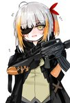1girl absurdres ahoge assault_rifle bangs black_gloves black_jacket blush brown_eyes brown_shirt commentary_request dokomon eyebrows_visible_through_hair eyepatch fang flying_sweatdrops girls_frontline gloves gun hair_ribbon head_tilt highres holding holding_gun holding_weapon jacket korean_commentary long_hair looking_at_viewer m16 m16a1 m16a1_(girls_frontline) m16a1_(girls_frontline)_(boss) multicolored_hair object_namesake one_side_up open_clothes open_jacket open_mouth orange_hair red_hair red_ribbon ribbon rifle shirt silver_hair simple_background solo streaked_hair sweat upper_body weapon white_background younger