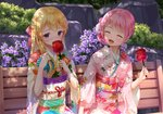 2girls :d ^_^ bang_dream! bangs bench blonde_hair blush bow candy_apple closed_eyes commentary_request covered_mouth day eyebrows_visible_through_hair floral_print flower food furisode hair_bow hair_flower hair_ornament holding holding_food japanese_clothes kimono long_hair long_sleeves lunacle maruyama_aya multiple_girls obi open_mouth outdoors park_bench pink_flower pink_hair pink_kimono print_kimono purple_eyes purple_flower red_bow sash shirasagi_chisato sitting smile white_flower white_kimono wide_sleeves