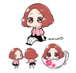 1girl :o brown_eyes brown_hair chibi commentary_request cup do_m_kaeru floral_print highres in_container in_cup okumura_haru pantyhose persona persona_5 pink_sweater short_hair skirt smile sweater teacup twitter_username white_legwear |_|