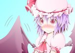 1girl ascot bat_wings blush brooch dress embarrassed fang_out jewelry lavender_hair looking_away mob_cap pink_dress puffy_short_sleeves puffy_sleeves red_eyes remilia_scarlet short_hair short_sleeves solo_focus tad_s tears_in_eyes touhou wings