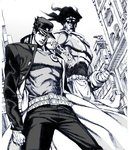 1boy blurry building chain clenched_hand from_below gakuran graphite_(medium) hat jojo_no_kimyou_na_bouken kuujou_joutarou lamppost male_focus mixed_media monochrome nobita orange_eyes school_uniform serious spot_color stand_(jojo) star_platinum stardust_crusaders traditional_media