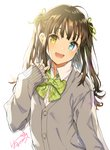 1girl :d ahoge backlighting blue_eyes bow bowtie brown_hair buttons cardigan collared_shirt commentary fang frilled_sleeves frills green_neckwear green_ribbon grey_cardigan hair_ribbon hand_up harunoibuki head_tilt heterochromia long_hair long_sleeves looking_at_viewer open_mouth original ribbon school_uniform shirt sidelocks signature simple_background sleeves_past_wrists smile solo two_side_up upper_body v white_background white_shirt yellow_eyes