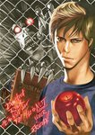 2boys apple book brown_hair chain-link_fence death_note death_note_(2017) death_note_(object) english_text fence food fruit glowing glowing_eyes holding holding_food light_turner male_focus multiple_boys obata_takeshi official_art pointy_ears red_eyes ryuk sharp_teeth shinigami source_request teeth white_skin wire_fence