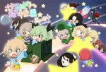 6+girls :< :d >_< aki_(girls_und_panzer) alligator_costume anchovy arms_up bandages bangs black_hair black_jacket black_pants black_ribbon blonde_hair blouse blue_blouse blue_dress blue_eyes blue_headwear blush boko_(girls_und_panzer) box braid brown_eyes brown_hair cardboard_box child closed_eyes commentary_request cover cover_page darjeeling doujin_cover dress drill_hair eyebrows_visible_through_hair fang flying formal frown girls_und_panzer glasses green_eyes green_hair grin hair_intakes hair_ribbon hair_tie hanging hat hat_removed headwear_removed itsumi_erika jacket jinguu_(4839ms) katyusha kay_(girls_und_panzer) kindergarten_uniform light_brown_hair long_hair long_sleeves looking_at_another medium_skirt mika_(girls_und_panzer) mikko_(girls_und_panzer) multiple_girls nishi_kinuyo nishizumi_maho nishizumi_miho nonna one_eye_closed one_side_up open_mouth pants reaching_out red_eyes red_hair ribbon riding rosehip running sailor_dress shimada_arisu shoes short_hair short_twintails silver_hair sitting skirt sliding smile space_craft star stuffed_animal stuffed_toy suit swept_bangs teddy_bear tied_hair translated tsuji_renta twin_drills twintails v-shaped_eyebrows wide_sleeves yellow_skirt younger