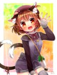 1girl alternate_costume alternate_hairstyle animal_ears autumn bag beret blush braid breasts brown_hair buttons cat_ears cat_tail chen cowboy_shot earrings eyebrows eyebrows_visible_through_hair fangs hair_tie handbag hat heart highres ibaraki_natou jewelry leaf leaf_background long_sleeves looking_at_viewer multicolored multicolored_eyes multiple_tails nekomata open_mouth orange_eyes over_shoulder overall_shorts overalls paw_print purple_hat red_pupils red_ribbon ribbon satchel small_breasts solo strap_slip sweater tail tail_ribbon teeth thighhighs touhou turtleneck twin_braids two_tails waving yellow_eyes