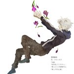 1boy bad_id crocus_(flower) falling fate/zero fate_(series) flower hoodie kuroihato male_focus matou_kariya pale_skin petals solo translated white_hair