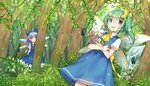 2girls blue_bow blue_dress blue_eyes blue_hair bouquet bow bug butterfly cirno commentary_request daiyousei day dress fairy_wings flower forest green_eyes green_hair hair_bow ice ice_wings ichihaya insect looking_at_viewer multiple_girls nature outdoors purple_flower shirt short_sleeves sidelocks touhou tree water waterfall white_flower white_shirt wings