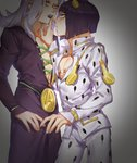 2boys belt_buckle black_hair black_lipstick bob_cut bruno_buccellati buckle finger_to_another's_mouth grey_hair hair_ornament highres iroha741852963 jojo_no_kimyou_na_bouken leone_abbacchio lipstick long_hair makeup male_focus multiple_boys vento_aureo yaoi yellow_eyes zipper