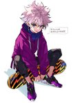 1boy black_pants blue_eyes character_name earrings highres hunter_x_hunter jacket jewelry killua_zoldyck male_focus pants purple_hair purple_jacket shoes simple_background sitting skateboard sneakers solo speech_bubble white_background yuu_(higashi_no_penguin)