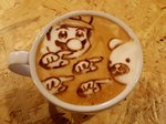 1boy bear bkub_(style) coffee colopl commentary cup drink facial_hair george_(yamamoto_kazuki) hat highres latte_art mario mario_(series) mustache parody photo pointing poptepipic style_parody super_mario_bros. table teacup