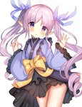 1girl :o ame_sagari bangs blue_kimono blue_ribbon blush bow commentary_request eyebrows_visible_through_hair frilled_sleeves frills hair_ribbon hands_up hikawa_kyoka japanese_clothes kimono long_hair long_sleeves parted_lips pointy_ears princess_connect! princess_connect!_re:dive purple_eyes purple_hair ribbon ringlets sidelocks simple_background solo twintails very_long_hair white_background wide_sleeves yellow_bow