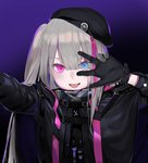 1girl :p arm_up bangs beret black_gloves black_hat blue_eyes buckle girls_frontline gloves gradient gradient_background grey_hair hat heterochromia highres jacket long_hair long_sleeves looking_at_viewer mdr_(girls_frontline) multicolored_hair one_side_up open_mouth pink_eyes pink_hair purple_background self_shot shatte shiny shiny_hair side_ponytail smile solo streaked_hair tongue tongue_out upper_body w w_over_eye