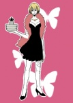 1girl aarue bad_id bad_pixiv_id black_dress blonde_hair bug butterfly crown dress feather_boa high_heels insect jewelry necklace one_piece plate shoes short_hair solo stitches victoria_cindry zombie