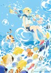1girl :o air_bubble animal arms_at_sides artist_name bare_arms barefoot blonde_hair blue_background blue_eyes blue_shorts bubble calico cat fish frilled_shirt_collar frills hair_ornament hairclip midriff navel open_mouth original polka_dot polka_dot_shorts seuga shirt short_hair shorts sitting sleeveless sleeveless_shirt solo tropical_fish underwater water white_shirt